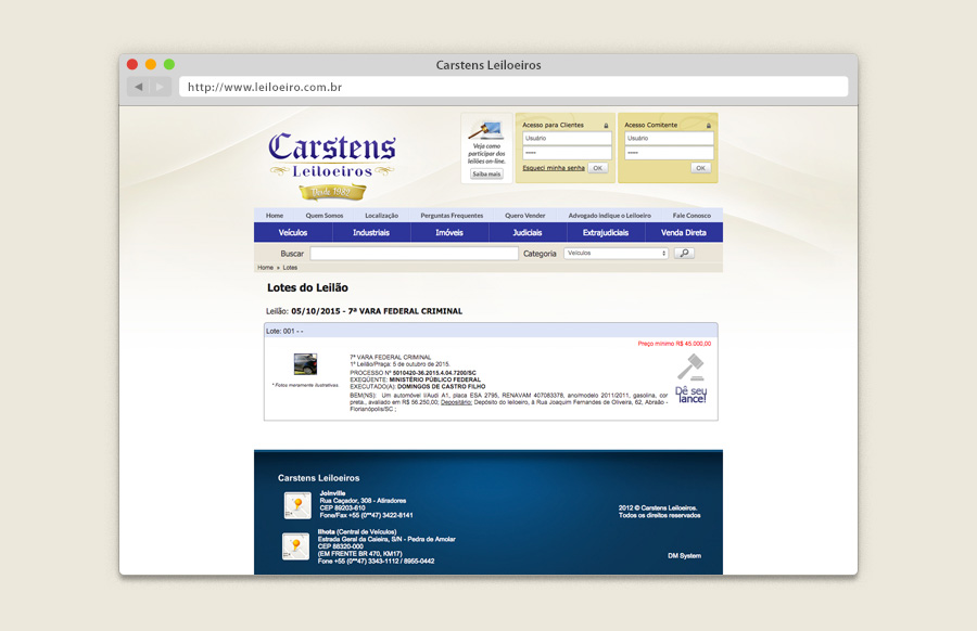 Layout website Carstens Leiloeiros