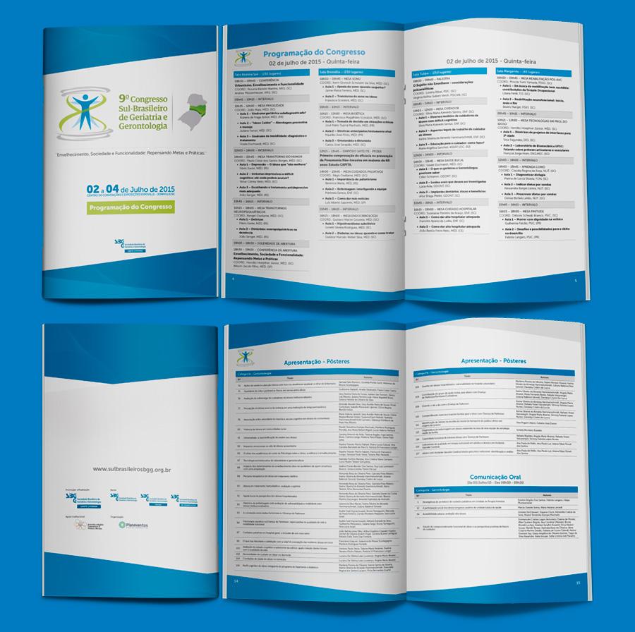 Layout Revista de Programação do evento da Sociedade Brasileira de Geriatria e Gerontologia SC