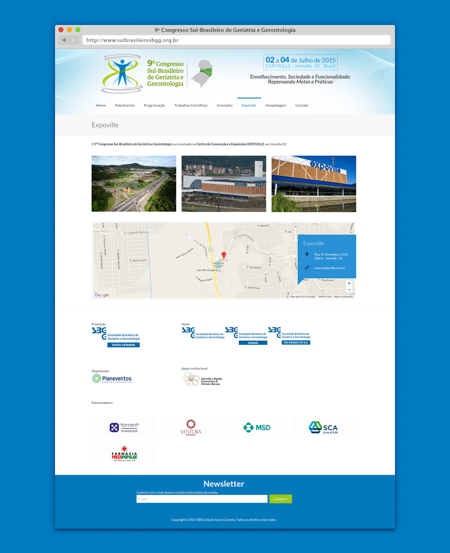 Layout do website do evento da Sociedade Brasileira de Geriatria e Gerontologia SC