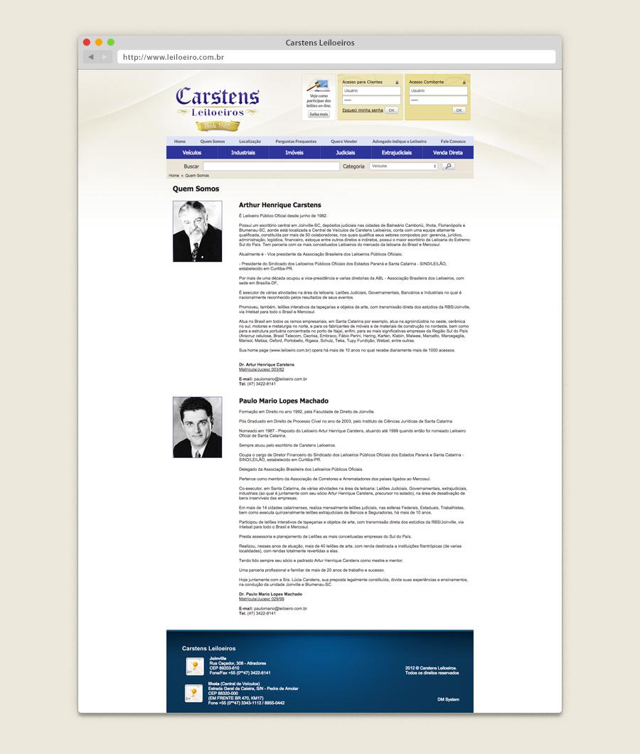 Layout website Carstens Leiloeiros