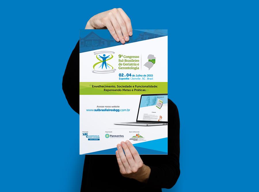 Layout de Cartaz para evento da Sociedade Brasileira de Geriatria e Gerontologia SC