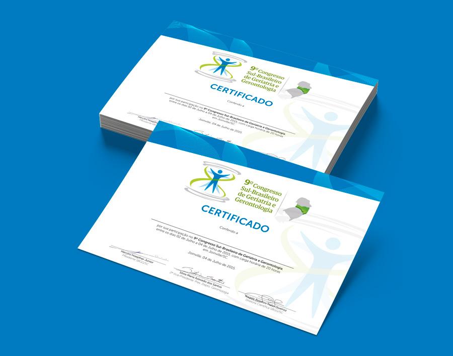 Layout Certificado para evento da Sociedade Brasileira de Geriatria e Gerontologia SC