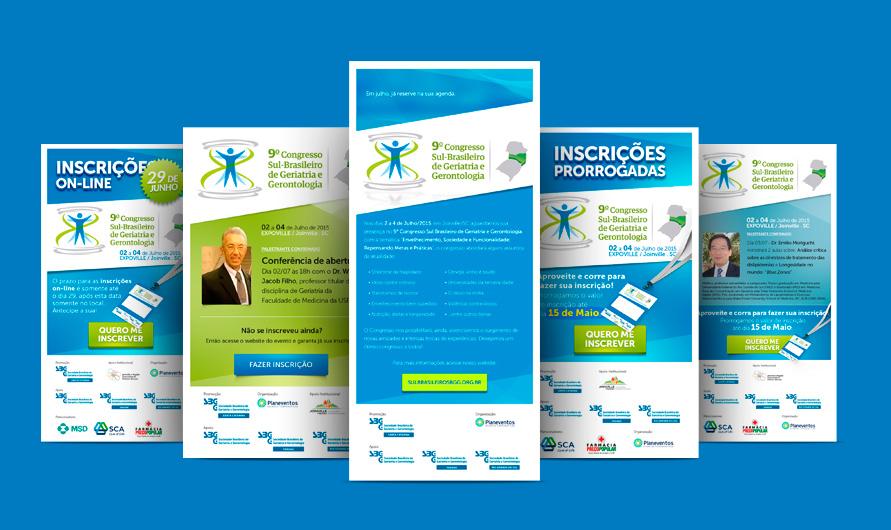 Layout de E-mail Marketing de divulgação do evento da Sociedade Brasileira de Geriatria e Gerontologia SC