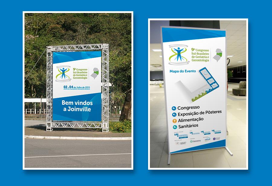Layout da comunicação visual do evento da Sociedade Brasileira de Geriatria e Gerontologia SC